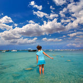 Kid girl walking at Formetera in Estany des Peix — Stock Photo