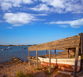 Beached boat in Estany des Peix at Formentera Balearic — Stock Photo