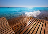 Formentera Mitjorn beach with turquoise Mediterranean — Stock Photo