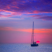 Ibiza sunset sun view from formentera Island — Stock Photo