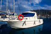 Boat moored in Mediterranean marina in Denia Alicante — Stock Photo