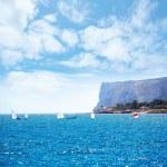 Sailboats Optimist learning to sail in Mediterranean at Denia — Stock Photo