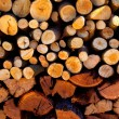 Firewood stacked fire wood different sizes — Stock Photo #36811099