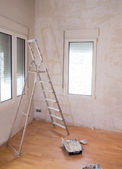 House indoor improvements plater tools and ladder — Stock Photo