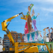 Detail of Fallas construction with crane in Campanar Valencia — Stock Photo