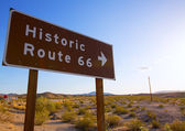 Historic route 66 road sing in Mohave Desert of California — Stock Photo