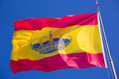 Spain red and yellow flaw waving on wind — Stock Photo