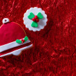 Christmas cookies Xmas bell on red background — Stock Photo