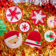 Christmas cookies Xmas tree Santa snowflake on golden — Stock Photo