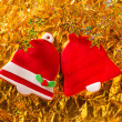 Christmas cookies Xmas red bell shape on golden — Stock Photo #37126419