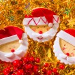Christmas cookies with santa face on golden — Stock Photo