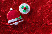 Christmas cookies Xmas bell on red background — Foto Stock