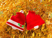 Christmas cookies Xmas red bell shape on golden — Foto Stock