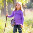 Stock Photo: Hiking kid girl with walking stick in autum poplar forest
