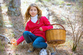 Kid girl searching chanterelles mushrooms with basket in autumn — Stock Photo