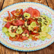 Mediterranean salad with tomato cucumber pumpkin seeds — Stock Photo