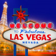 Welcome to Fabulous Las Vegas sign sunset with Strip — Stock Photo #37662791