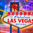 Stock Photo: Welcome to Fabulous Las Vegas sign sunset with Strip