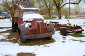 Snow old truck in the early spring time in Nevada — Stock Photo