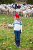 Kid girl shepherdess happy with flock of sheep and stick — Stock Photo