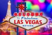 Welcome to Fabulous Las Vegas sign sunset with Strip — Stock Photo