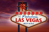 Welcome to Fabulous Las Vegas sign sunset sky — Stock Photo