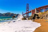 San Francisco Golden Gate Bridge Marshall beach California — Zdjęcie stockowe
