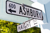 San Francisco Haight Ashbury street sign junction California — Stockfoto