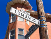 San francisco Lombard Street sign in California — Stock Photo