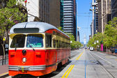 San Francisco Cable car Tram in Market Street California — Stock Photo
