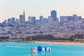 San Francisco from Golden Gate Bridge sailing regatta — Zdjęcie stockowe