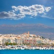 Stock Photo: Altevillage in alicante with marinboats foreground