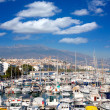 Altevillage in alicante with marinboats foreground — Stockfoto #39730153