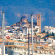 Altevillage in alicante with marinboats foreground — Stockfoto #39730439