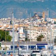 图库照片: Altevillage in alicante with marinboats foreground