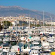 Altevillage in alicante with marinboats foreground — Foto de stock #39730627