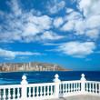 Benidorm balcon del Mediterraneo sea from white balustrade — Stock Photo
