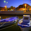 Denia port marina with traditional llaut boats at sunset night — Stock Photo #39737061