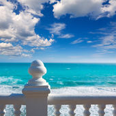 Benidorm balcon del Mediterraneo sea from white balustrade — Stock Photo