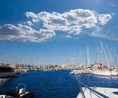 Denia Alicante marina boats in blue Mediterranean — Stock Photo