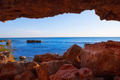 Denia Las Rotas from the caves and Mediterranean sea — Stock Photo