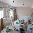 Stock Photo: House indoor improvements in messy room construction