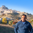 Latin tourist in spain at Morella in Valencian community — Stock Photo
