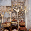 Stock Photo: Traditionals baskets and cereal wooden forks in Maestrazgo