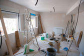 House indoor improvements in a messy room construction — 图库照片