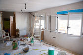 House indoor improvements in a messy room construction — Stock Photo