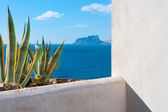 Moraira Alicante view mediterranean white house and agave — Stock Photo