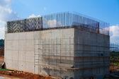 Reinforced concrete basement column for train bridge — Stock Photo