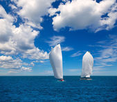 Sailboats regatta sailing in Mediterranean — Stock Photo