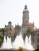 Valencia Plaza del ayuntamiento city town hall square — Stock Photo
